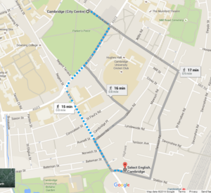 A map of Cambridge City Centre, showing the pedestrian route from Select English to the bus stops near Parkers Piece.