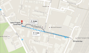 A Map of Station Road in Cambridge, showing the pedestrian route from Select English to the train station.