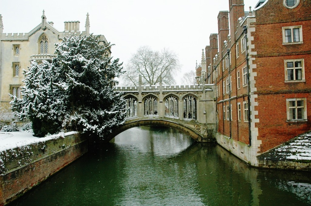 The famous Mathematical Bridge in the snow.