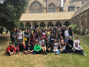 summer school students on a trip to Oxford